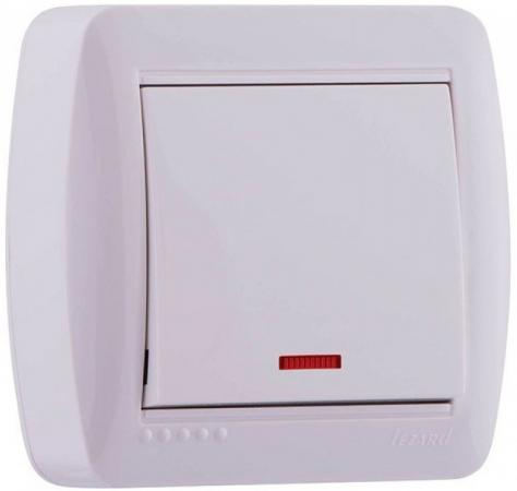 Выключатель LEZARD 711-0200-111 подсветка серия открытой проводки Демет белый розетка lezard 711 0200 129