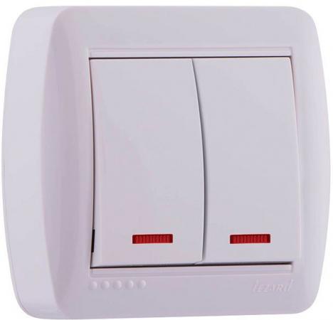 Выключатель LEZARD 711-0200-112 двойной подсветка серия открытой проводки Демет белый выключатель автоматический tdm ва47 63 3р 40а sq0218 0023