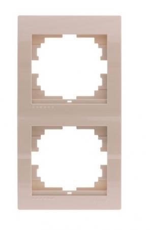 Рамка LEZARD 702-0300-152 2-ая вертикальная серия скр.проводки Дери кремовый