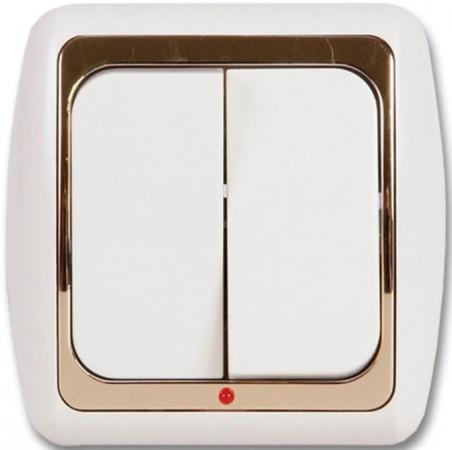 Выключатель DUEWI 26341 8 скрытой проводки 2 клавишный с подсветкой