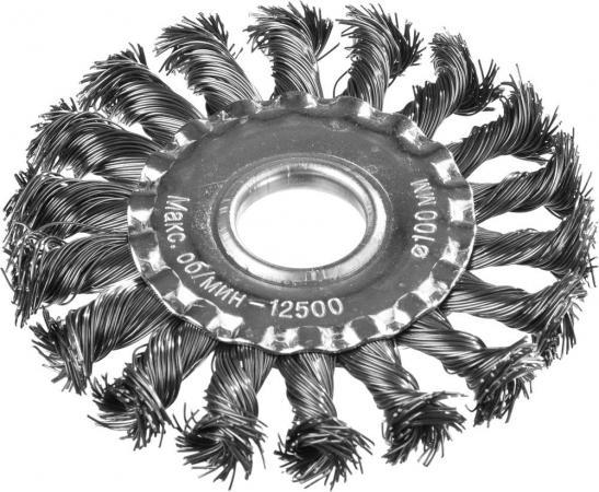 Кордщетка DEXX 35100-100 дисковая для УШМ жгутированные пучки сталь0.5мм 100мм/22мм тиски dexx 32470 100