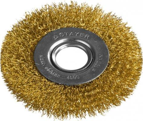 Кордщетка STAYER PROFESSIONAL 35122-100 д/УШМ витая стальная латун.проволока 0.3мм 100мм/22мм