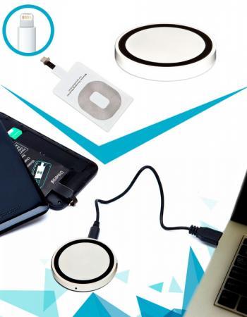 Аккумулятор беспроводной круглый для смартфонов с Lightning разъемом, белый SU 0049 круглый беспровод аккумулятор bradex круглый беспровод аккумулятор