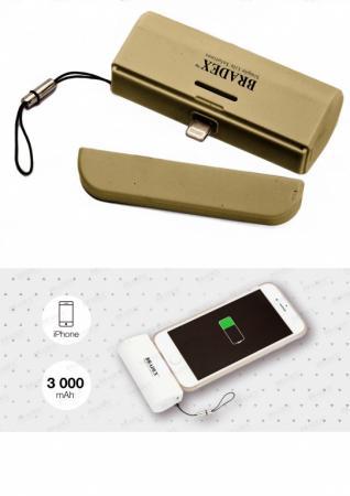 Аккумулятор ультрапортативный с Lightning разъемом, 3000 mAh, золотой SU 0061