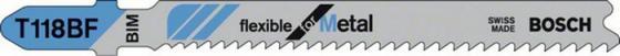 Пилка для лобзика BOSCH T118BF (2.608.634.503) металл, 92мм, шаг 1.9-2.3, BiM, 5шт LongLife пилки для лобзика bosch 92мм 5шт t102bf clean for pммa 2 608 636 781