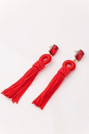 Серьги «КИСТИ» красный AS 0160
