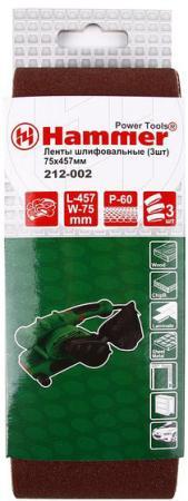 Лента шлиф. Hammer Flex 212-002 75 Х 457 Р 60 по 3 шт. набор аксессуаров hammer flex 219 003 md ac 3 для мини дрелей 187 шт