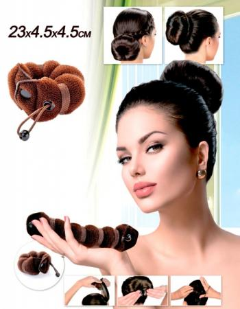 Фото - Валик для волос для создания прически «ПУЧОК» коричневый цвет, 23х4,5х4,5см KZ 0358 массажер bradex kz 0001 blue