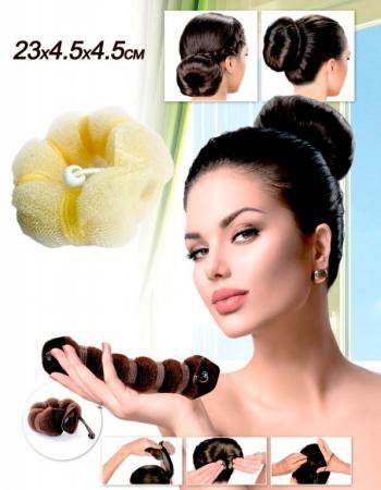 Валик для волос для создания прически «ПУЧОК» цвет блонд, 23х4,5х4,5см KZ 0360