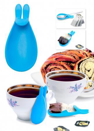 Купить Держатель чайных пакетиков и ложки «КРОЛИК», голубой TK 0233, Bradex