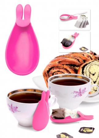 Купить Держатель чайных пакетиков и ложки «КРОЛИК», розовый TK 0234, Bradex