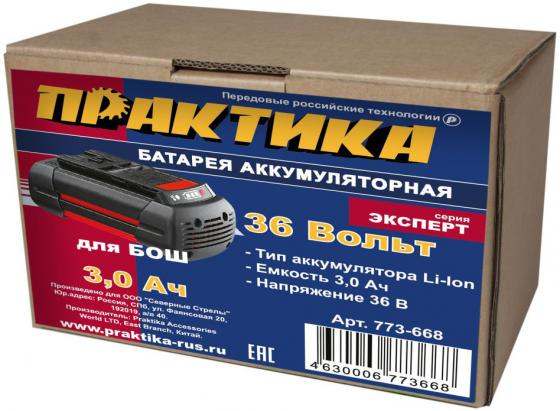 Аккумулятор ПРАКТИКА 773-668 36.0В 3.0Ач LiION для BOSCH аккумулятор практика 779 356 10 8в 1 5ач liion для hitachi