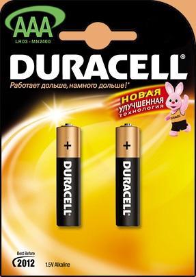 Батарейка DURACELL LR03-2BL 1.5В AAA (тонкая) (цена за шт,в блистере 2шт) батарейка duracell lr03 bp2 2шт