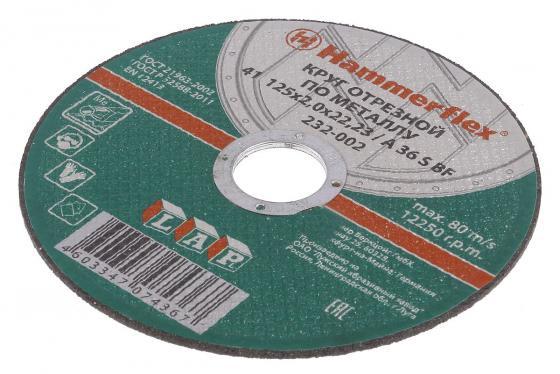 125 x 2.0 x 22,23 A 36 S BF Круг отрезной Hammer Flex 232-002 по металлу отрезной круг hammer flex 232 018 по металлу 86898