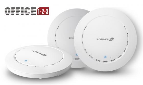 Точка доступа Edimax OFFICE 1-2-3 802.11abgnac 1267Mbps 2.4 ГГц 5 ГГц 2xLAN белый комплект из 3 шт точка доступа edimax oap900 802 11aс 866mbps 5 ггц 2xlan белый