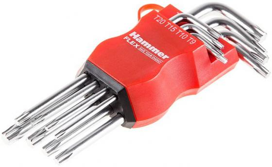Набор торцевых ключей Hammer Flex 601-031 TORX 8 шт.: T9, T10, T15, T20, T25, T27, T30, T40, CRV набор шестигранников складных stanley 8шт torx t9 t40 0 97 553
