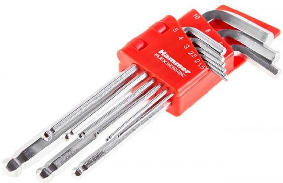 Набор шестигранных ключей Hammer Flex 601-030 9 шт.: 1.5;2;2,5;3;4;5;6;8;10 мм, CRV набор шестигранных удлиненных ключей 2 0 12 мм 9 шт matrix 11227