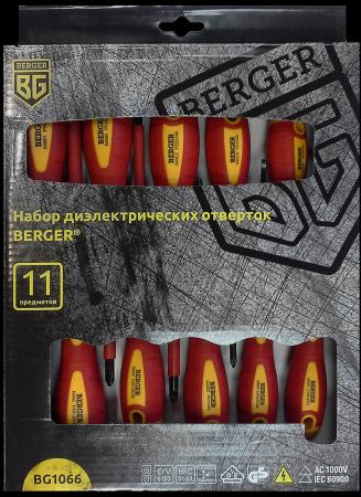 Набор отверток BERGER BG1066 диэлектрических 11предметов набор отверток berger bg1065 диэлектрических 5предметов