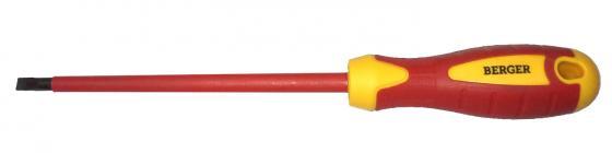 Отвертка BERGER BG1052 шлицевая 0.6x3.5x100мм диэлектрическая до 1000В отвертка berger bg1057 крестовая ph2x100 диэлектрическая до 1000в