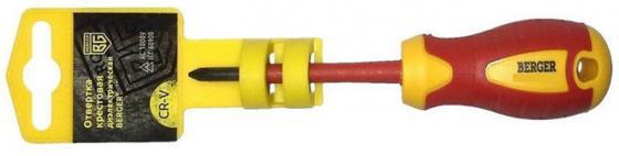 Отвертка BERGER BG1060 philips pz2x100мм диэлектрическая до 1000В отвертка диэлектрическая крестовая berger bg1060 pz2x100мм