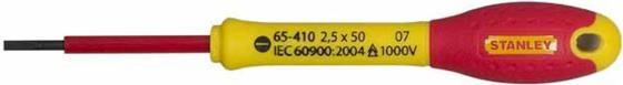 Отвертка STANLEY FATMAX 0-65-410 электрика 1000V 2.5*50мм диэлектрическая отвертка fatmax 1000v 3 5х75 мм stanley 0 65 411