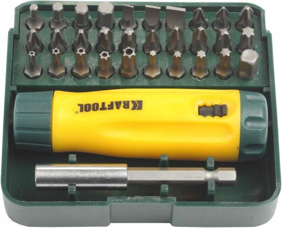 Набор KRAFTOOL 26142-H32 отвертка реверсивная с битами и адаптером Cr-V 32 предмета реверсивная отвертка kraftool bit lock 26160 h13