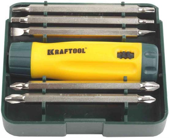 Набор KRAFTOOL 26141-H6 отвертка реверсивная с двухсторонними удлиненн битами Cr-V 6 шт набор бит kraftool 61шт cr v 26140 h61
