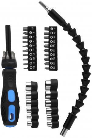 Отвертка с гибким приводом и набором головок и бит KROFT 203018 40в1 отвёртка с набором бит и головок dexell 25 предметов