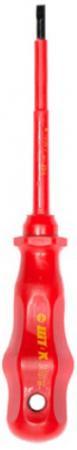 Отвертка SHTOK. 147330 шлицевая 4х100мм для электромонтажных работ 1000в красн. серия 09201 диэлектрические боковые кусачки shtok 1000в 160 мм 08104