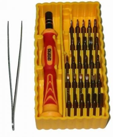 Отвертка мини SKRAB 42623 (желтый набор) 30пр.: биты, адаптер, пинцет, для точной механики фильтр skrab 50278