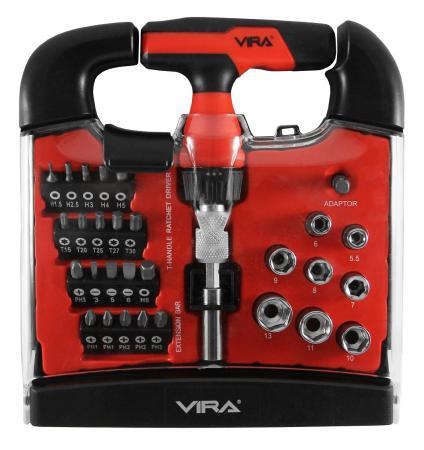 Отвертка реверсивная VIRA 305060 т-образная с набором бит 31 предмет отвертка vira 303183 реверсивная с набором сверл головок и бит с гибким приводом 25 в 1
