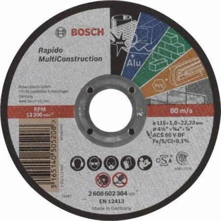 Круг отрезной BOSCH 2608602384 multiconstruct. 115x1.0мм по бетону, кирпичу, камню, керамике круг отрезной bosch 150x2 5x22 2 608 600 383 по бетону кирпичу камню керамике
