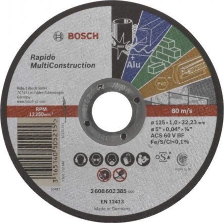 Круг отрезной BOSCH 2608602385 multiconstruct. 125x1.0мм по бетону, кирпичу, камню, керамике круг отрезной bosch 150x2 5x22 2 608 600 383 по бетону кирпичу камню керамике