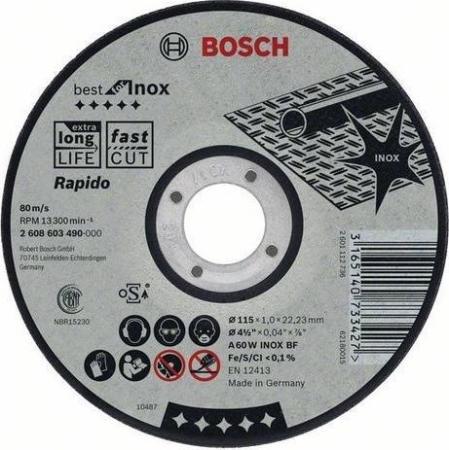 Круг отрезной BOSCH Best for Inox 180x1,6x22 (2.608.603.498) по нержавеющей стали