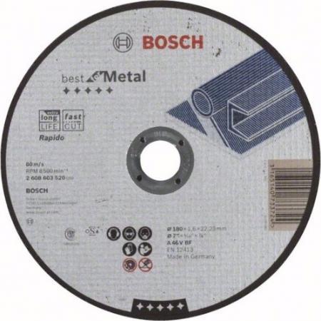 Круг отрезной BOSCH Best for Metal 180x1,6x22 выпуклый (2.608.603.521) по металлу круг отрезной bosch 115х1 5х22 best for metal 2 608 603 517