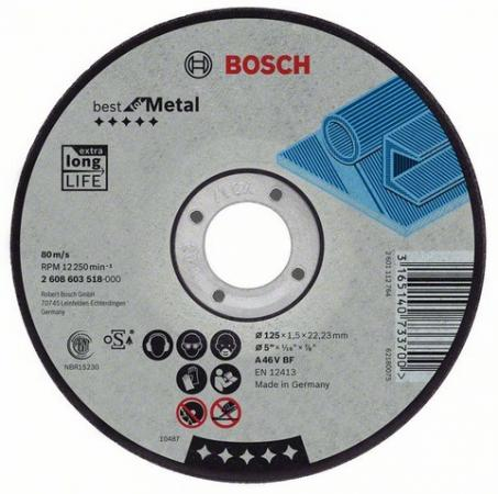 Круг отрезной BOSCH Best for Metal 180x2,5x22 (2.608.603.528) по металлу круг отрезной bosch 115х1 5х22 best for metal 2 608 603 517