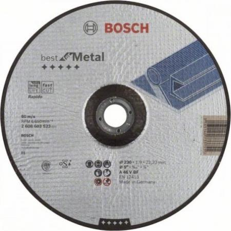 Круг отрезной BOSCH Best for Metal 230x1,9x22 выпуклый (2.608.603.523) по металлу круг отрезной bosch 115х1 5х22 best for metal 2 608 603 517