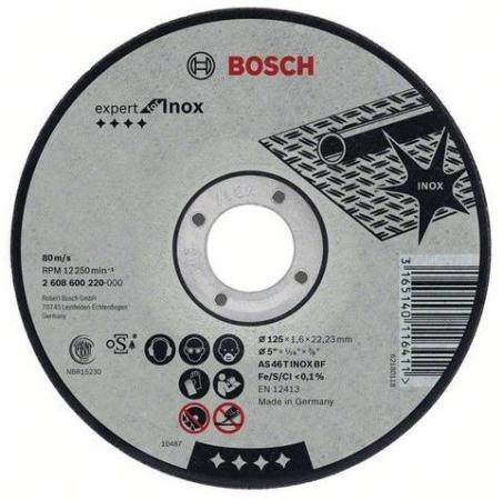Круг отрезной BOSCH Expert for Inox 115x2,0x22 (2.608.600.093) по нержавеющей стали круг отрезной bosch 115х2 5х22 expert for stone 2 608 600 320