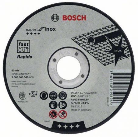 Круг отрезной BOSCH Expert for Inox 180x1,6x22 (2.608.603.406) по нержавеющей стали круг отрезной bosch 115х2 5х22 expert for stone 2 608 600 320