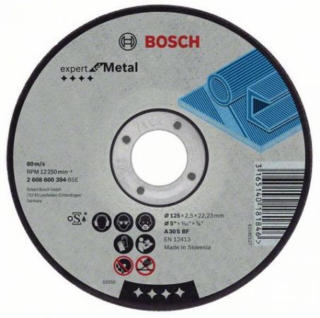 Круг отрезной BOSCH Expert for Metal 115x2,5x22 выпуклый (2.608.600.005) по металлу круг отрезной bosch 115х2 5х22 expert for stone 2 608 600 320