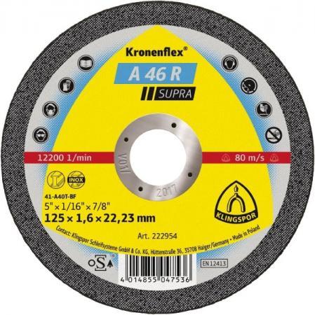 125 X 1.6 X 22 Круг отр. KLINGSPOR Kronenflex A 46 R SUPRA (222954) по металлу и нержавеющей стали круг отрезной hammerflex 232 014 по металлу и нержавеющей стали a 54 s bf 125 x 1 2 x 22 23