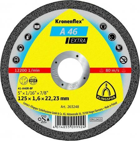 125 X 1.6 X 22 Круг отрезной KLINGSPOR Kronenflex A 46 EXTRA (263248) по металлу круг отрезной hammerflex 232 014 по металлу и нержавеющей стали a 54 s bf 125 x 1 2 x 22 23