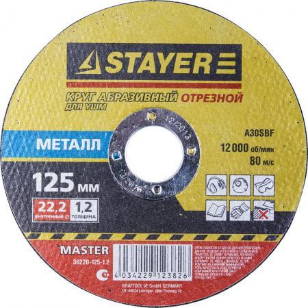 Круг отрезной STAYER MASTER 36220-125-1.0 абразивный для УШМ 125х1.0х22.2мм по металлу цены