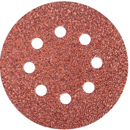 Круг фибровый (цеплялка) ПРАКТИКА 034-199 125мм P180 8отв. набор 25 шт цена за комплект абразивный круг velcro dexter p180 d125 мм 5 шт