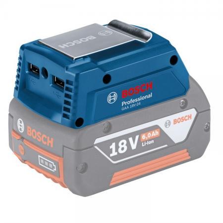 Адаптер BOSCH GAA 18V-24 USBx2 (2x2.4A или 2 x 1.2A) Порт для куртки с подогревом набор bosch гайковерт аккумуляторный gdx 18 v ec 0 601 9b9 102 адаптер gaa 18v 24