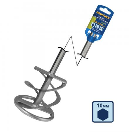 Купить Насадка для перемешивания ПРАКТИКА 779-509 100х600мм, хв.HEX10, гипс, клей д/плитки, Практика