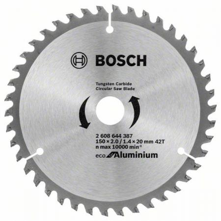 Диск пильный твердосплавный BOSCH ECO AL 150x20-42T (2.608.644.387) по алюминию диск пильный твердосплавный malco mccb7
