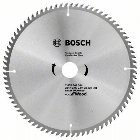 Диск пильный твердосплавный BOSCH ECO WO 254x30-80T (2.608.644.384) по дереву пильный диск eco wood 254x30 мм 40t bosch 2608644383