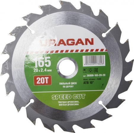 Круг пильный твердосплавный URAGAN 36800-165-20-20 быстрый рез по дереву 165х20мм 20т диск пильный быстрый рез по дереву усиленный 165х20мм 20т зубр