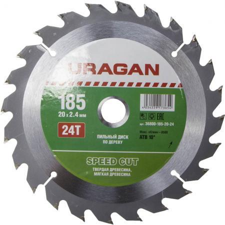 Круг пильный твердосплавный URAGAN 36800-185-20-24 быстрый рез по дереву 185x20мм 24т